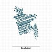 Doodle sketch of Bangladesh map - vector illustration