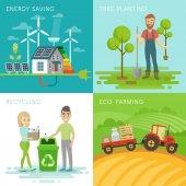 Eco set recycling planting trees energy saving eco farming themes Vector illustration