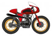 Red street bike cafe racer style