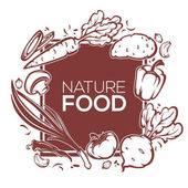 Nature organic food  banner template design with images of common vegetables carrot root tomato pepper onion mushroom
