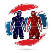 Muay Thai Thai Boxing Sport pose graphic vector
