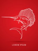 Sailfish Jumping outline graphic vector