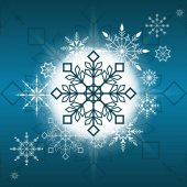 Winter Christmas holiday card background with snowflakes and white blue colours
