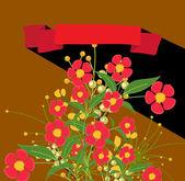 Piros virágok Valentin háttér