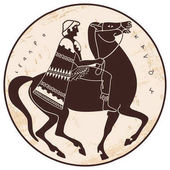 Greek style drawing Soldier in uniform with a cape riding a horse