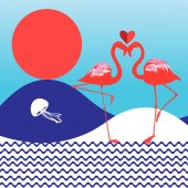 Bright background with the sun and love with flamingos