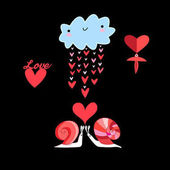 Bright fun card with cloud and snails in love