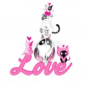 Bright greeting card with cheerful love cats