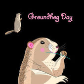 Bright fun graphics card for Groundhog Day