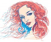 Hand drawing portrait of a beautiful womanHave a Clipping Mask