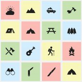 Set Of 16 Editable Trip Icons Includes Symbols Such As Peak Fever Ax And More Can Be Used For Web Mobile UI And Infographic Design