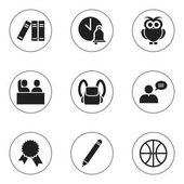 Set Of 9 Editable Education Icons Includes Symbols Such As Victory Medallion Bookshelf Pencil And More Can Be Used For Web Mobile UI And Infographic Design