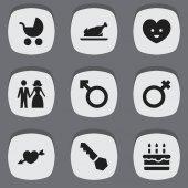 Sada 9 upravitelné řady ikon. Obsahuje symboly kočárkem, Lock, ženatý a další. Lze použít pro webové, mobilní, Ui a infografika Design