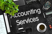 Accounting Services on Black Chalkboard. 3D Rendering.