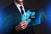 Üzleti, technológiai, internetes és hálózati fogalom. Fiatal busine