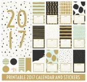 Twelve month 2017 calendar template Hand drawn patterns in black gold pastel blue and cream Matching round stickers and ribbons