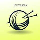 Yarn and knitting needles icon vector illustration