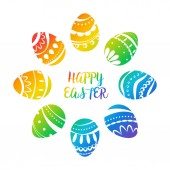 Circular composition with Easter eggs Rainbow gradient Vector illustration