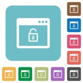 Unlock application flat icons on simple color square background
