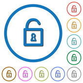 Unlocked padlock flat color vector icons with shadows in round outlines on white background
