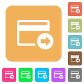 Send money with credit card flat icons on rounded square vivid color backgrounds