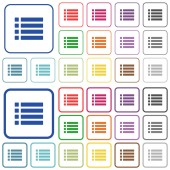 Unordered list color flat icons in rounded square frames Thin and thick versions included