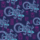 Seamless Maya art boho pattern with lizard Ethnic print Aztec background texture Fabric cloth design wallpaper wrapping packaging Vector illustration