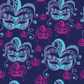 Seamless pattern (texture) with abstract decorative mask (symbol of the carnival in Venice) Suitable for design: fabric cloth wallpaper wrapping packaging Vector illustration