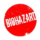 Biohazard rubber stamp Grunge design with dust scratches Effects can be easily removed for a clean crisp look Color is easily changed