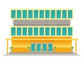 Supermarket building facade flat vector illustration