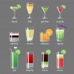 Постер, плакат: Alcoholic cocktails vector illustration Margarita and cosmopolitan