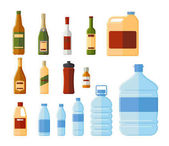 Different bottles and water containers vector illustration Glass and termo medicine and chemical bottle set isolated on white background