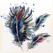 Abstract illustration with ink spots and realistic bird feathers