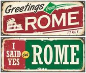 Rome Italy retro post card idea with old metal background texture and promotional messages Greetings from Rome vintage vector illustration