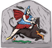 Forensic reconstruction illustration of Mithras slaying of a black bull from 4th century stone carvings in Jajce Bosnia