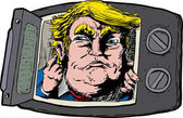 March 16 2017 Caricature of smirking Donald Trump looking out from a microwave oven