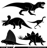 Vektor sadu ikon, geometricky stylizované dinosaura