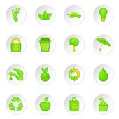 Nature icons set in cartoon style Ecology eco set collection vector illustration