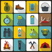 Recreation tourism icons set, flat style