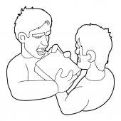 Two aggressive men fighting for box icon Outline illustration of two aggressive men fighting for box vector icon for web