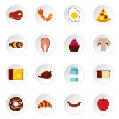 Food icons set Flat illustration of 16 food vector icons for web