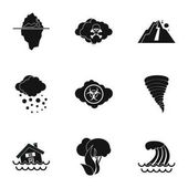 Natural disasters icons set Simple illustration of 9 natural disasters vector icons for web