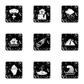 Natural catastrophe icons set Grunge illustration of 9 natural catastrophe vector icons for web