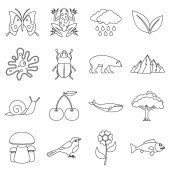 Nature items icons set Outline illustration of 16 nature items vector icons for web