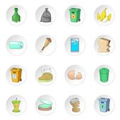 Garbage items icons set Cartoon illustration of 16 garbage items vector icons for web