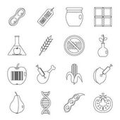 GMO icons set food Outline illustration of 16 GMO food vector icons for web