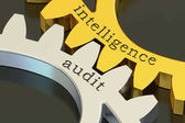 Intelligence audit concept on the gearwheels, 3D rendering