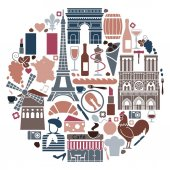 Traditional symbols of the French architecture cuisine and culture in the form of a circle