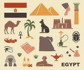 Traditional Egyptian stylized icons Flat vector silhouettes