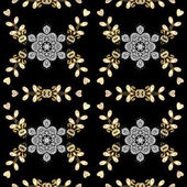 Seamless oriental ornament in the style of baroque Vector traditional classic golden pattern with white doodles on black background